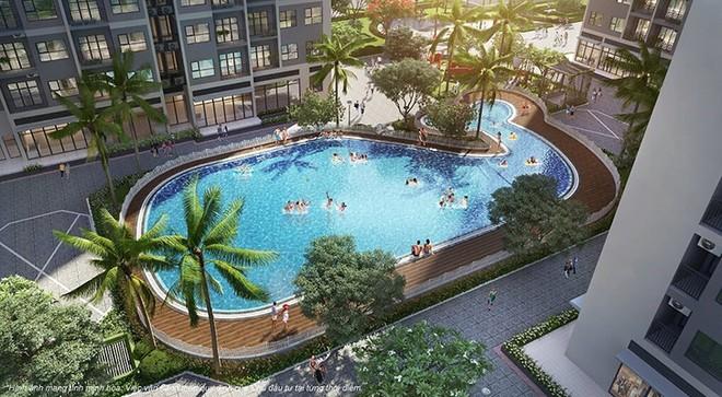 Bể bơi ngoài trời ngay dưới chân 2 tòa Sapphire S1.08 và S1.09