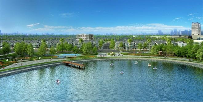 An Vượng Villa nằm ngay cạnh hồ Bách Hợp Thủy rộng 6ha