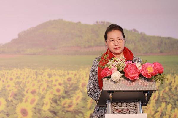 Bà Nguyễn Thị Kim Ngân - Ủy viên Bộ Chính trị, Chủ tịch Quốc hội nước CHXHCN Việt Nam phát biểu tại sự kiện