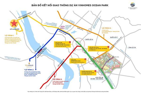 4 lộ trình di chuyển chính từ các khu vực đến trung tâm mới Vinhomes Ocean Park