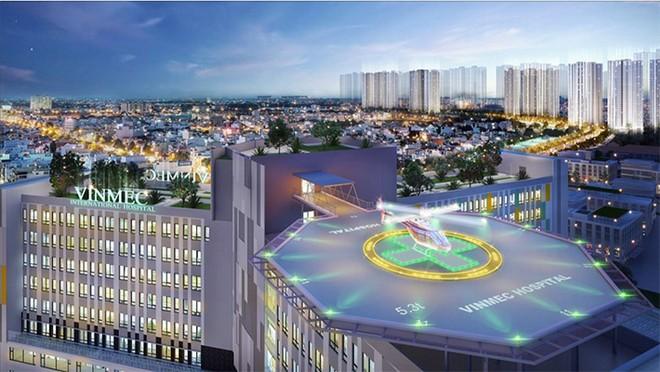 Bệnh viện đa khoa quốc tế Vinmec đầu tiên sở hữu sân đỗ trực thăng cho cho các trường hợp cấp cứu đặc biệt - một trong những đại tiện ích của dự án