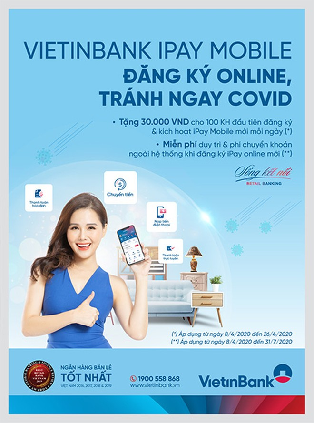 Tặng ngay 30.000 VND và miễn phí giao dịch VietinBank iPay Mobile