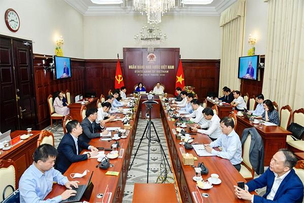 Toàn cảnh hội nghị tại điểm cầu trụ sở NHNN Việt Nam