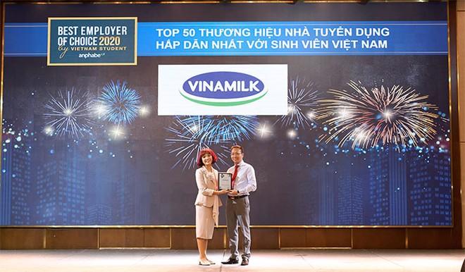Vinamilk được bình chọn là một trong 50 thương hiệu nhà tuyển dụng hấp dẫn nhất đối với sinh viên Việt Nam 2020