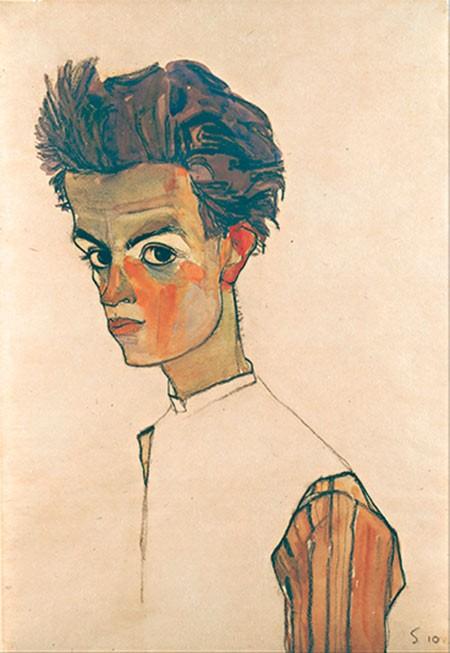 Tác phẩm Tự họa với áo sọc của Egon Schiele