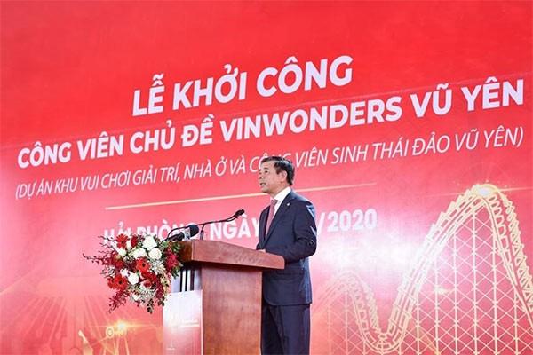 Ông Nguyễn Việt Quang - Phó Chủ tịch kiêm Tổng Giám đốc Tập đoàn Vingroup phát biểu tại lễ khởi công
