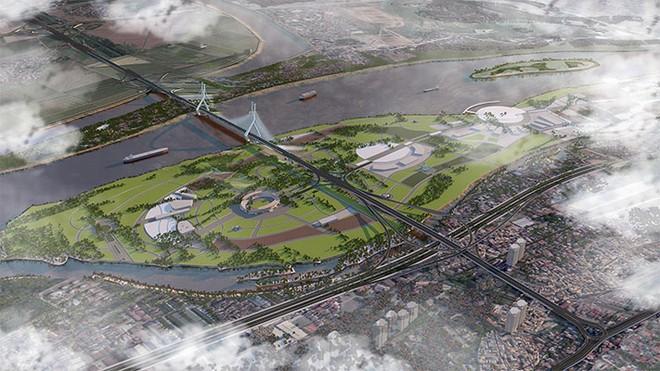 Cầu Tứ Liên trong tương lai sẽ nằm giữa cầu Nhật Tân và Long Biên, kết nối đôi bờ sông Hồng