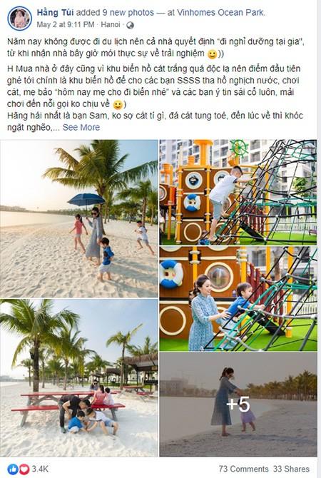 Chị Bích Hằng (Hotmom Hằng Túi) chia sẻ cả 4 đứa trẻ nhà chị đều rất thích thú với không gian biển hồ và công viên vui chơi nội khu chủ đề đại dương.