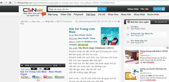 Chiasenhac.com với ca khúc do bên công ty cổ phần Sky Music giữ bản quyền