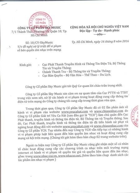 Công văn của công ty Cổ phần Sky Music gửi đến Cục Phát thanh truyền hình - Bộ TTTT và Cục bản quyền - Bộ VHTTDL