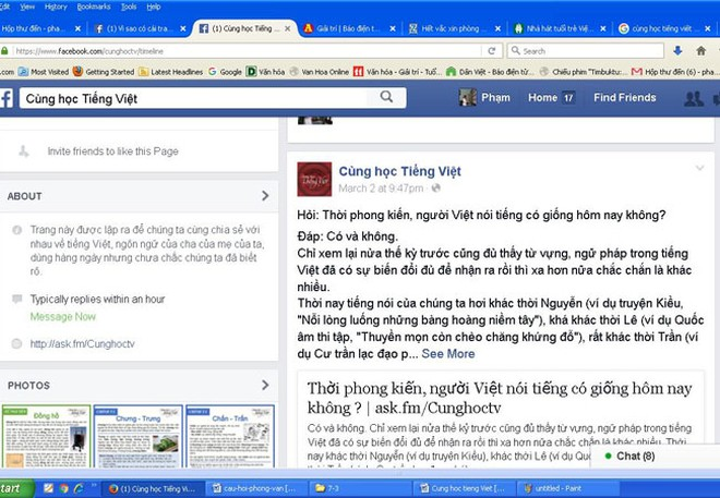 """Sức hút của """"Cùng học tiếng Việt"""" trên facebook ảnh 1"""