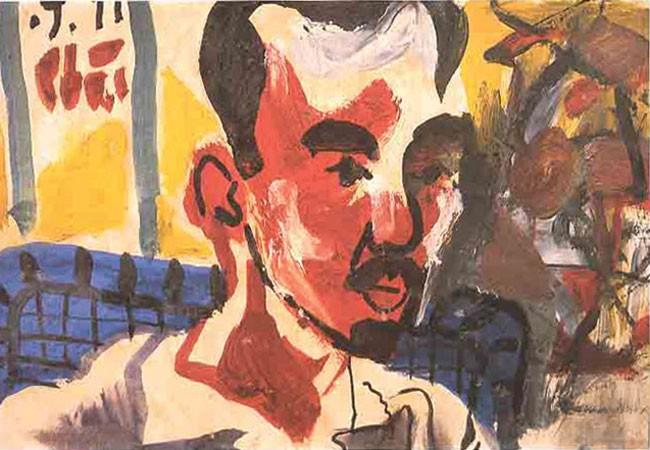 """Chân dung ông Bổng """"Hàng Buồm"""" (Tranh Bùi Xuân Phái 1977, sơn dầu)"""