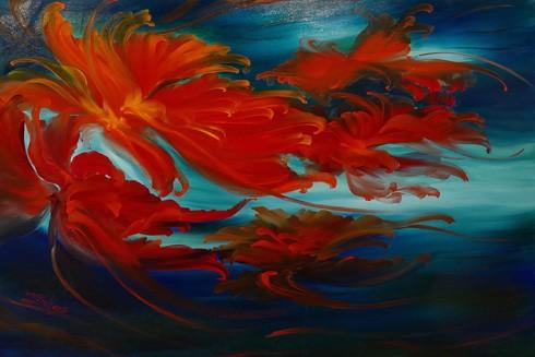 Tranh hoa đỏ mang tên Về miền yêu thương, 97x130cm, họa sĩ Trần Thuỳ Linh