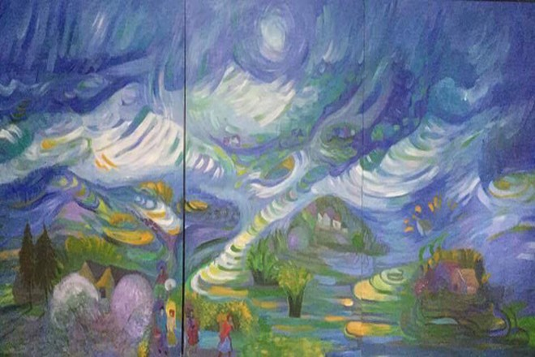 Mùa Xuân Sapa, 1,2x3,6m, họa sĩ Bùi Mai Hiên