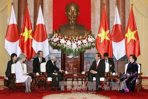 Chủ tịch nước Trần Đại Quang cùng Phu nhân hội kiến với Nhà vua và Hoàng hậu Nhật Bản