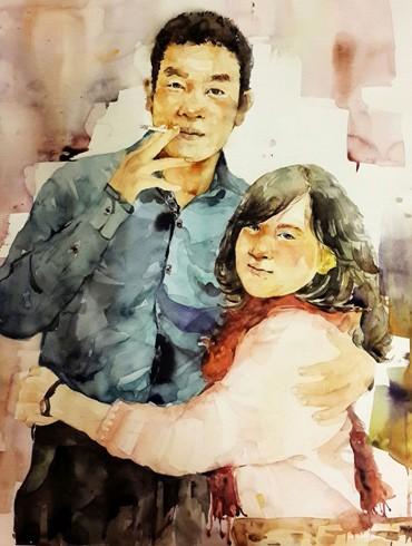 Bức tranh do Lê Vi - vợ nhạc sĩ Nguyễn Vĩnh Tiến vẽ trước đám cưới
