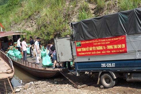 Chuyến hàng lên thuyền để vượt sông Đà đến với Hang Chú, Bắc Yên, Sơn La