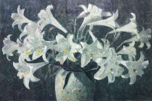 """""""Hoa loa ken"""" - màu nước trên giấy dó của họa sĩ Đào Thành Dzuy"""
