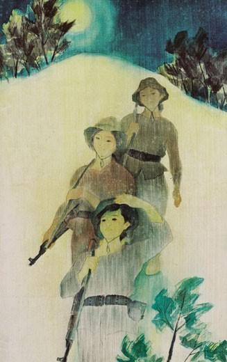 """""""Trăng trên cồn cát """" - tranh Lụa của họa sĩ Nguyễn Văn Chung"""