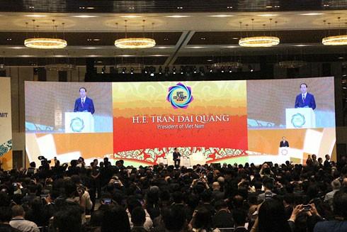 Chủ tịch nước Trần Đại Quang phát biểu tại lễ khai mạc Hội nghị Thượng đỉnh doanh nghiệp APEC (CEO Summit)