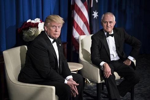 Tổng thống Mỹ Donald Trump (trái) và Thủ tướng Australia Malcolm Turnbull trong cuộc gặp tại New York (Mỹ), ngày 4-5-2017