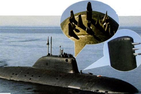 Vị trí gắn SOKS, thiết bị bí mật, trên tàu ngầm trinh sát của Nga