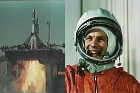 Yuri Gagarin mỉm cười hạnh phúc cùng tàu Phương Đông 1 khởi hành bay vào vũ trụ