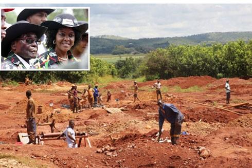"""Hàng trăm thợ khai thác trái phép """"tác nghiệp"""" trong nông trại của bà Grace Mugabe"""