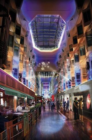 """""""Trái tim"""" của con tàu Silja Symphony khiến du khách có cảm giác như đang đứng giữa một trung tâm thương mại, giải trí"""