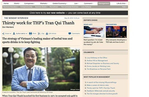 CEO Trần Quí Thanh trong phóng sự về Tân Hiệp Phát trên Financial Times - Thời báo Tài chính (Anh)