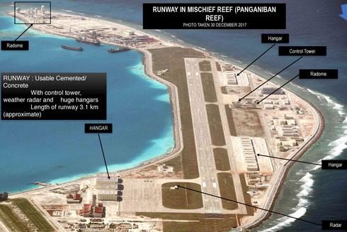 Các cơ sở quân sự Trung Quốc xây dựng trái phép trên đảo đá nhân tạo Vành Khăn thuộc chủ quyền Việt Nam