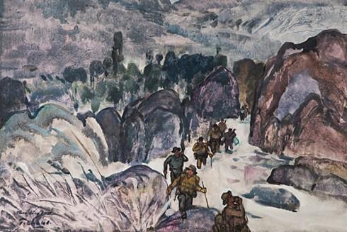Đường Trường Sơn theo dòng suối, 1995 - Thuốc nước trên giấy, 64 x 80 cm - họa sĩ Nguyễn Thanh Châu