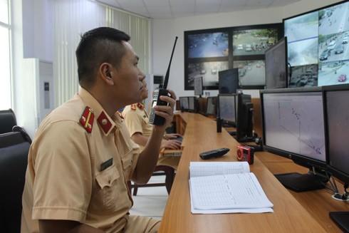 Qua màn hình, lực lượng Cảnh sát giao thông có thể bao quát tổng thể tình hình an toàn giao thông trên toàn thành phố
