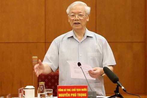 Đồng chí Nguyễn Phú Trọng, Tổng Bí thư, Chủ tịch nước phát biểu kết luận cuộc họp