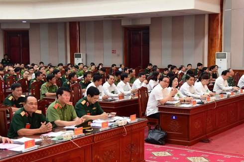 Các đồng chí lãnh đạo Bộ Quốc phòng, Bộ Công an và thành phố Hà Nội dự lễ khai mạc Diễn tập khu vực phòng thủ thành phố Hà Nội năm 2019
