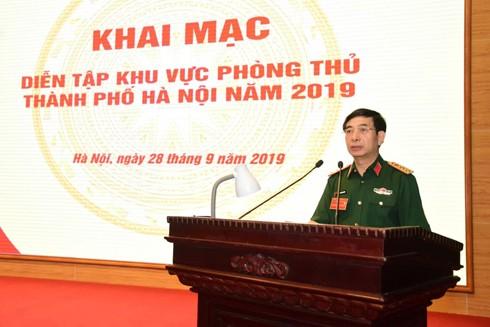 Thượng tướng Phan Văn Giang, Tổng Tham mưu trưởng Quân đội nhân dân Việt Nam, Thứ trưởng Bộ Quốc phòng phát biểu khai mạc diễn tập
