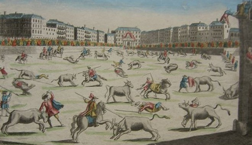Plaza Mayor xưa kia từng được người Tây Ban Nha tổ chức đấu bò; những con bò bị đâm cho tới chết ở ngay ở quảng trường này