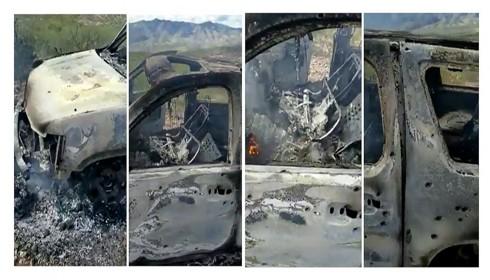 Chiếc xe ô tô bị thiêu rụi trong vụ thảm sát