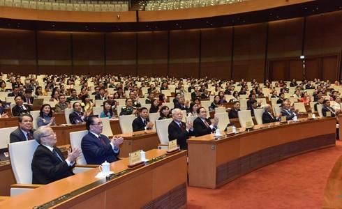 Tổng Bí thư - Chủ tịch nước Nguyễn Phú Trọng cùng các đồng chí lãnh đạo, nguyên lãnh đạo Đảng và Nhà nước tới dự Lễ bế mạc Kỳ họp thứ 8, Quốc hội khóa XIV