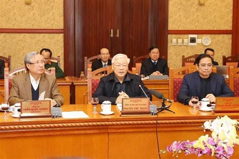 Tổng Bí thư - Chủ tịch nước Nguyễn Phú Trọng phát biểu chỉ đạo tại cuộc họp