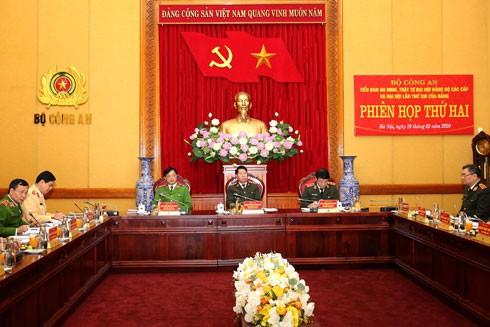 Các đồng chí Thứ trưởng Bộ Công an: Thượng tướng Bùi Văn Nam, Trung tướng Lương Tam Quang, Thiếu tướng Nguyễn Duy Ngọc tại phiên họp Tiểu ban ANTT Đại hội Đảng bộ các cấp và Đại hội lần thứ XIII của Đảng