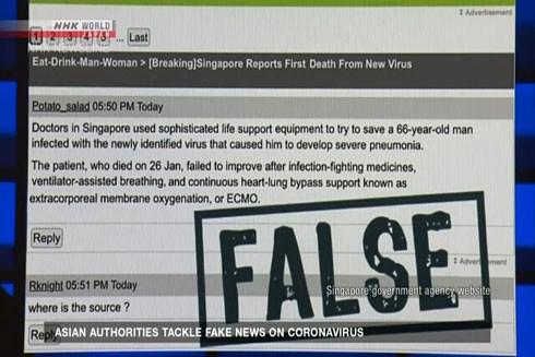 Một tin giả về bệnh nhân người Singapore thiệt mạng do virus Corona