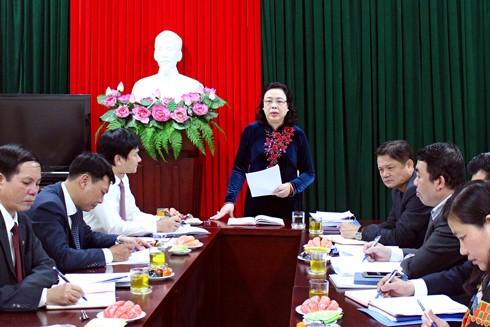 Phó Bí thư Thường trực Thành ủy Hà Nội Ngô Thị Thanh Hằng kiểm tra công tác chuẩn bị Đại hội Đảng bộ các cấp tại Đảng ủy khối các cơ quan thành phố