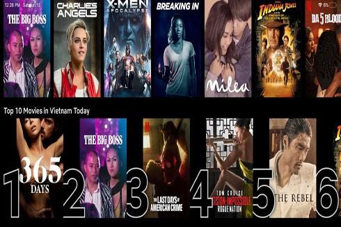 """Nhiều phim Việt lên Netflix như """"Long Ruồi"""", """"Dòng máu anh hùng"""" lên Top 10 phim được người Việt nhiều xem nhất (Ảnh chụp màn hình)"""