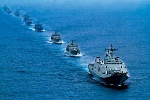 Đội tàu của Trung Quốc tham gia tập trận ở Biển Đông