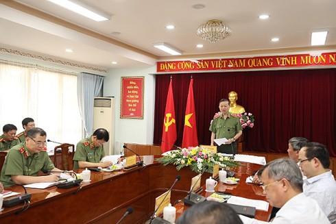 Đại tướng Tô Lâm, Bộ trưởng Bộ Công an phát biểu tại buổi làm việc