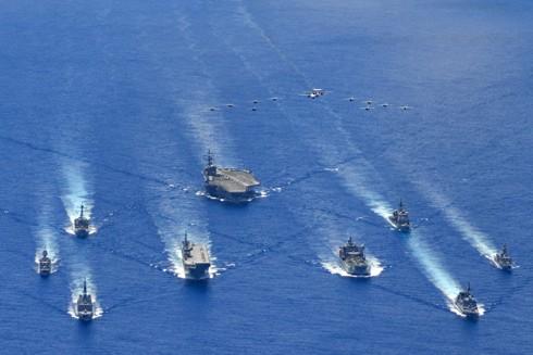 Các tàu của nhóm Tứ giác kim cương tham gia tập trận ở Biển Đông