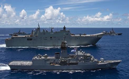 Tàu chiến của Mỹ, Nhật Bản và Australia tham gia tập trận ở Biển Đông