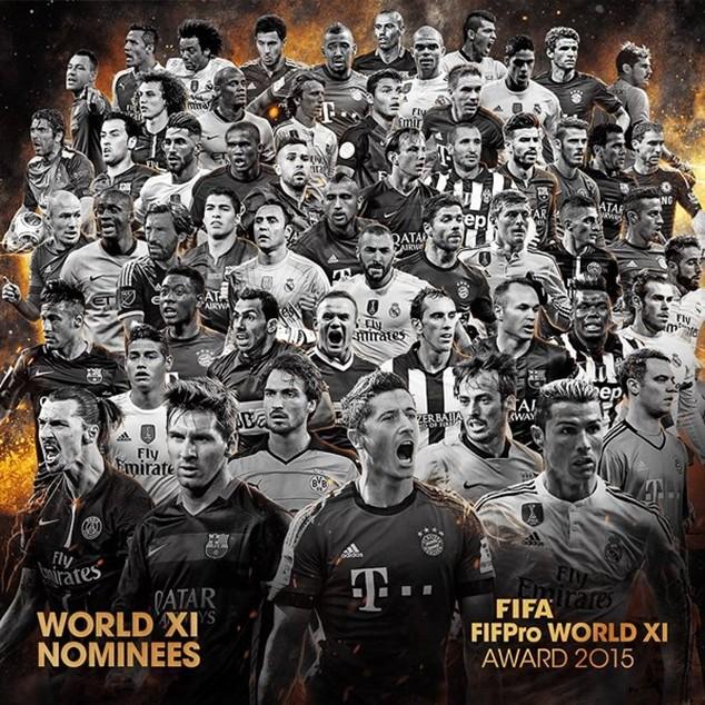 Công bố danh sách rút gọn 55 đề cử Đội hình FIFA FIFPro 2015