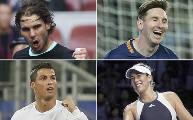 Từ trái qua phải: Nadal, Messi, Ronaldo và Muguruza
